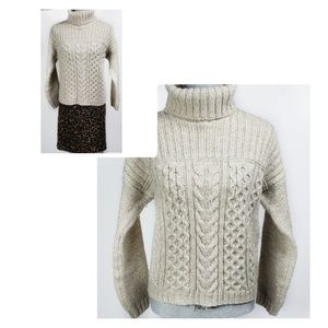 Made in Ireland Cable Wool Chunky Turtleneck  S